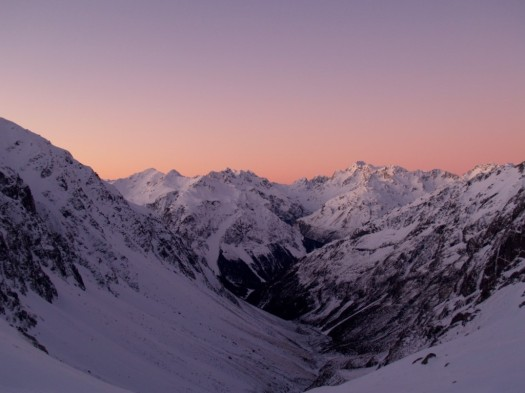 Winter sunset from Barkers Hut