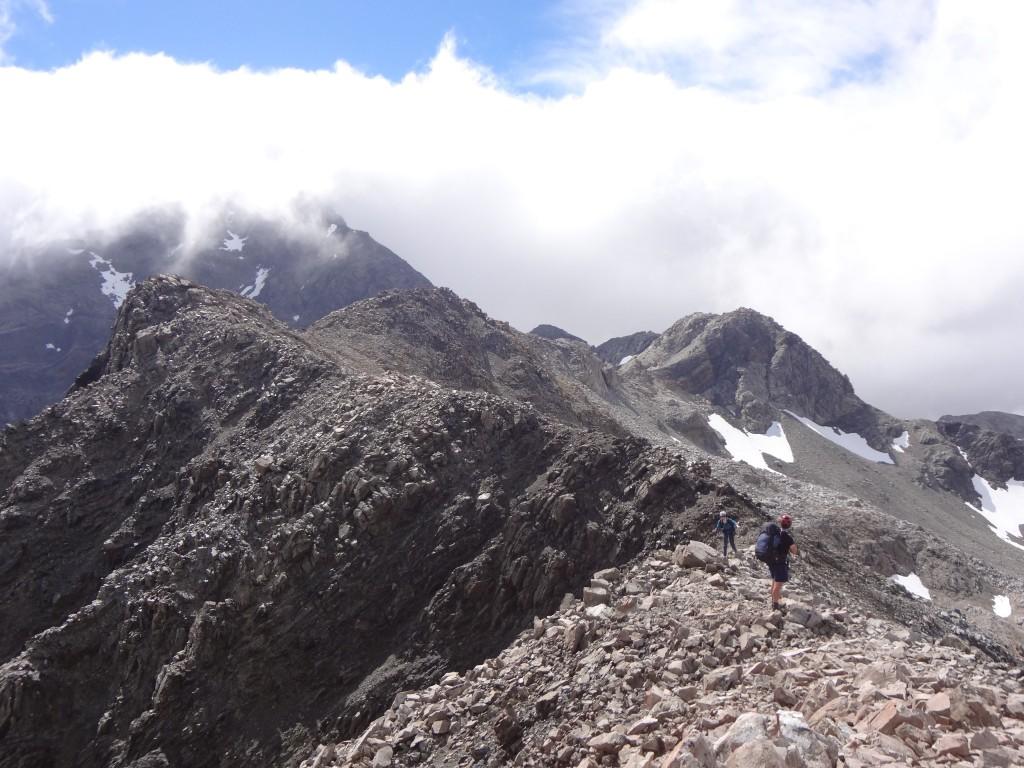 Jeff and Barbara traversing the ridge towards Avalanche Peak