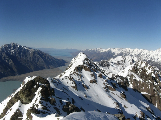 The Mount Cook Range with the Mackenzie Basin in the distance.